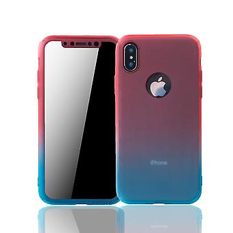 Apple iPhone X phone case protective case full cover tank protection glass red / blue