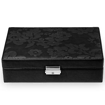 Gioielli scatola gioielli scatola nera Sacher pelle camoscio Office con specchio e Castello