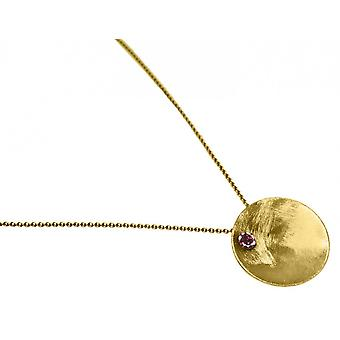 Ladies - - pendant - necklace 925 Silver - gold plated - BOWL - garnet - red - 45 cm