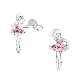 Ballerina - 925 Sterling Silver Crystal Ear Studs - W31403X