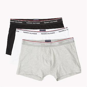 Tommy Hilfiger Premium väsentliga Stretch Trunk 3 Pack - svart/vit/grå
