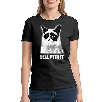 Grumpy Cat Deal With It Women's Black Funny T-shirt