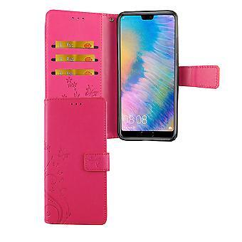 Huawei P20 Handy-Hülle Schutz-Tasche Cover Flip-Case Kartenfach Pink