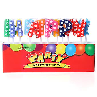 "Multicoloured Polkadot Individual Letter ""Happy Birthday ""Wax Cake Candles TRIXES"