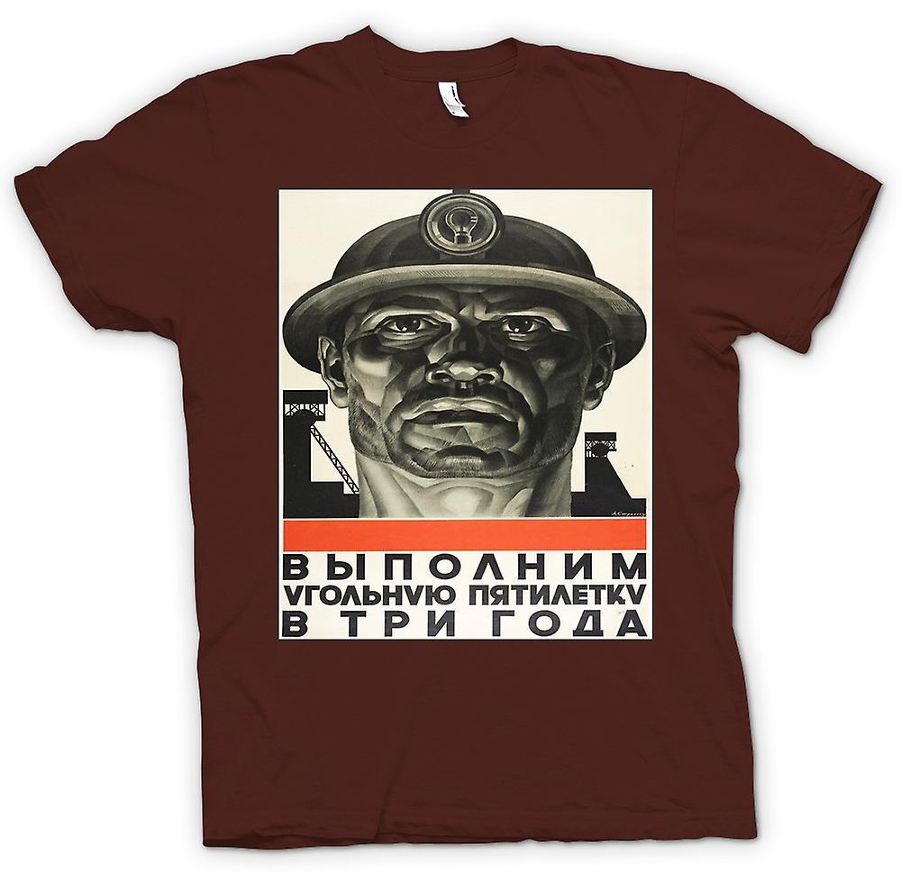 Mens T-shirt - Miner Russian Propoganda - Poster