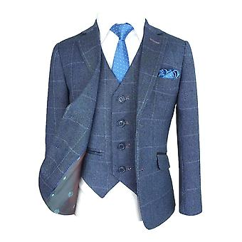 Exclusive Boys Blue Check Tweed Suit