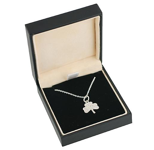 Silver 13x13mm plain Shamrock Pendant with a rolo Chain 16 inches Only Suitable for Children