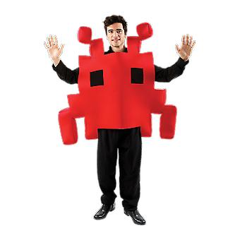 Red Space Invader Retro 80s Arcade Game Character Fancy Dress Costume
