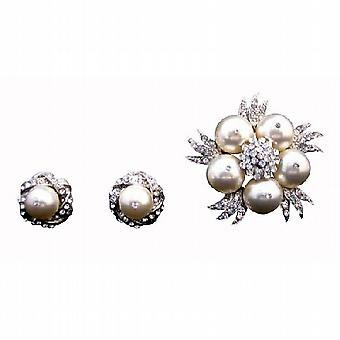 Genuine Swarovski Ivory Pearls Brooch & Matching Earrings w/ Sparkling Diamante Cubic Zircon Around Brooch/Earrings Wedding Jewelry