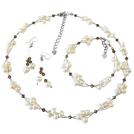 Unique Bridal Jewelry Freshwater Pearls Smoked Topaz Crystals Set