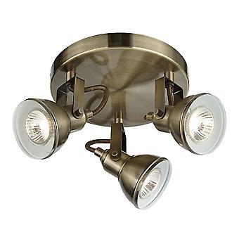Foco 3 bronze antigo luz teto Spotlight placa - 1543AB de holofote