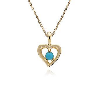 Gemondo 9ct giallo oro turchese singola pietra cuore ciondolo catena 45cm