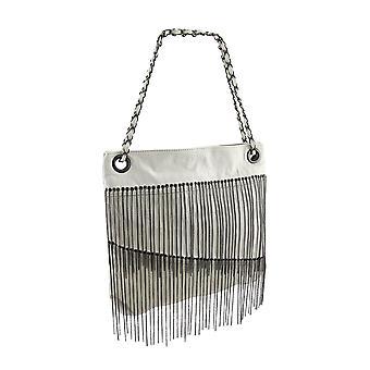 Chrome Asymmetrical Fringed Vinyl Shoulder Bag
