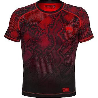 Venum Mens Fusion Kurzarm Compression Shirt - schwarz/rot