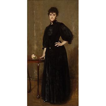 The woman wear the black, William Merritt Chase, 80x40cm