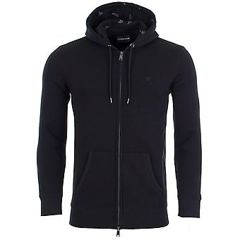 Emporio Armani Cotton Zip Up Black Hoodie
