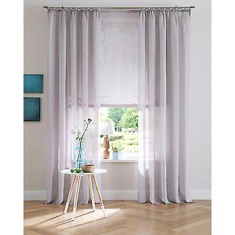 Ma maison uni simple rideau gris semi transparent de ruban Voile (2 pièces)