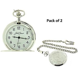 Jakob Strauss Silver Tone Pocket Watch & 12 Inch Chain JAST15 - Pack of Two