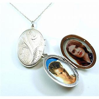 The Olivia Collection Sterling Silver 38mm Oval Engraved Locket on 18