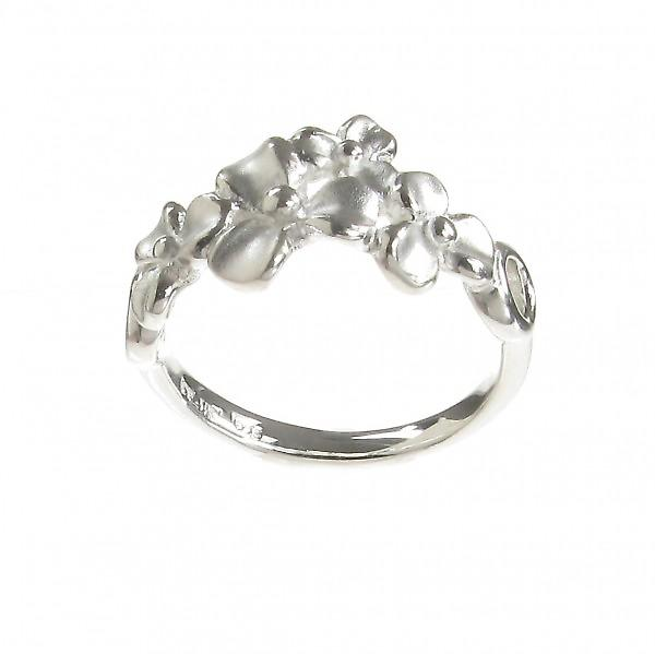 Cavendish French Sterling Silver Brushed 3 Petal Flower Ring