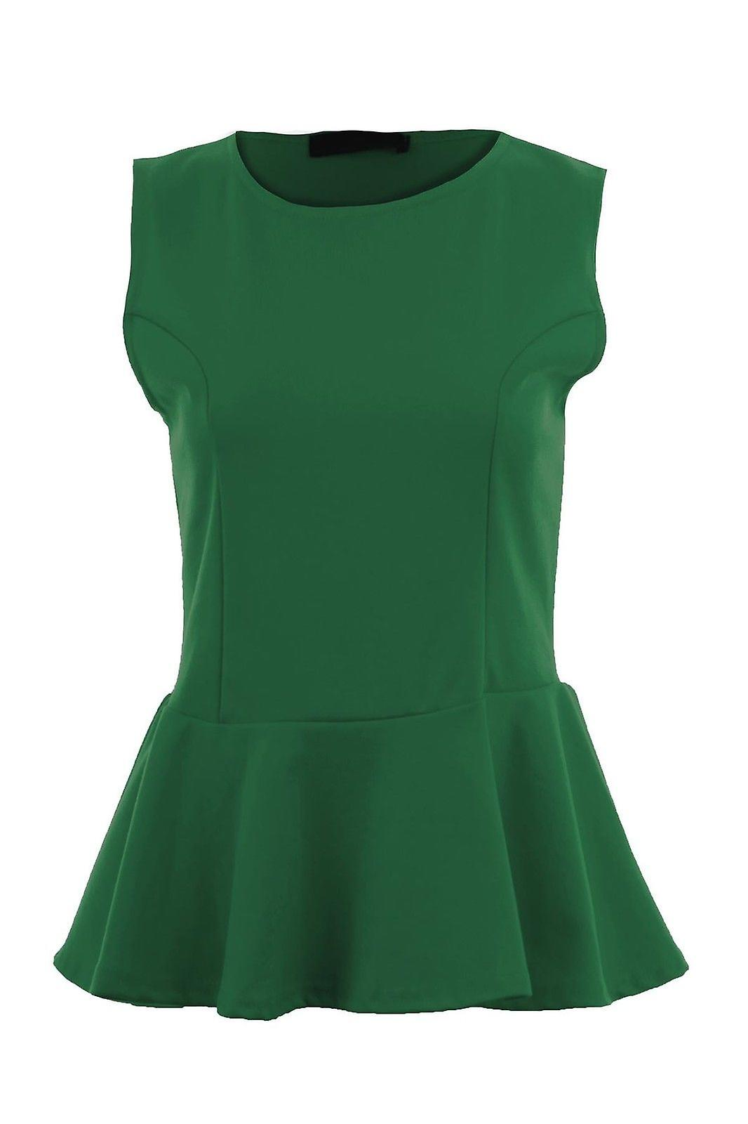 Ladies Plain Peplum Scoop Neck Sleeveless Frill Shift T Shirt Vest Women's Top