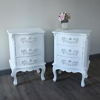 White bedroom furniture, Pair of Antique White 3 Drawer Bedside Table - Pays Blanc Range