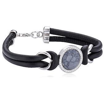 Orphelia armbånd Zwart Nappa Leer-syntetisk grå sten-zirconium