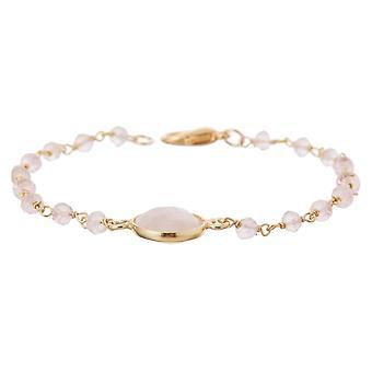 Gemshine bracelet with rose quartz gemstones in 925 silver or gold plated