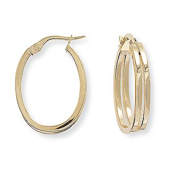 Jewelco London Ladies 9ct Yellow Gold Split Square Tubo Plain Oval Hoop Orecchini 17mm x 24mm
