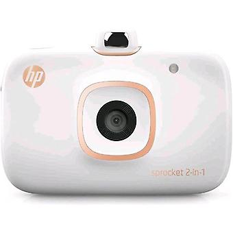 Hp sprocket 2 in 1 compact digital camera 5.0 mpx with photoprinter 5.1 x 7.6 cm bluetooth color white