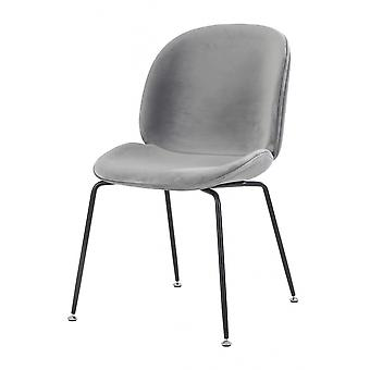 Fusion Living Luxuriöse grau samt Essstuhl mit schwarzen Metall Beinen