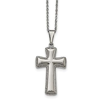 Stainless Steel Polished Medium Pillow Cross Necklace - 18 Inch