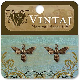 Métal Vintaj charmes 2 Pkg Busy Bee 13X17mm Dp120r