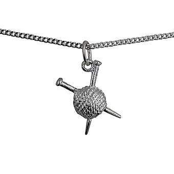 16x12mm palla di lana e ferri da maglia ciondolo in argento con un pollice di marciapiede catena 24