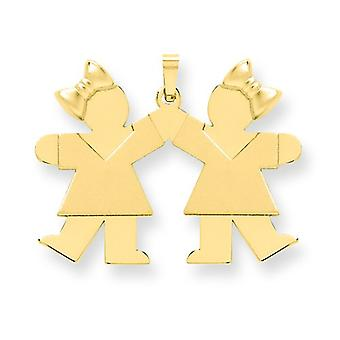 14k Gold Solid Engraveable Large Double Girls with Bows Charm