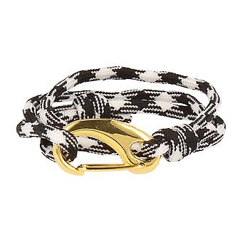 Vikings bracelet black and white gold lobster clasp