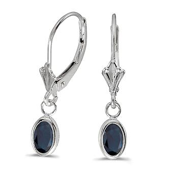 14k White Gold Oval 6x4 mm Sapphire Bezel Lever-back Earrings