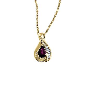 14k Yellow Gold Pear Ruby and Diamond Pendant with 18