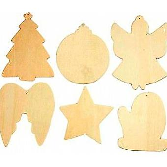 6 Assorted Wooden Christmas Ornaments Decorate | Wooden Shapes for Crafts