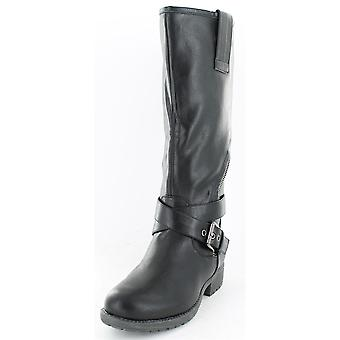 Ladies Spot On Asymmetric Zip Biker Style Boots Black Size 4
