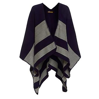 Ex Wallis Women's Casual Navy Striped Cape ONE SIZE
