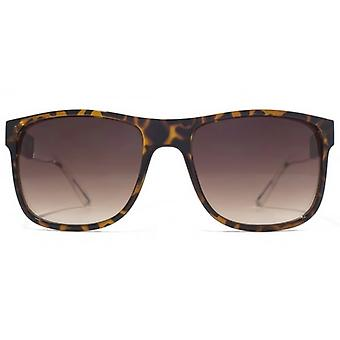French Connection Plastic Rectangle Colour Contrast Sunglasses In Dark Tortoiseshell