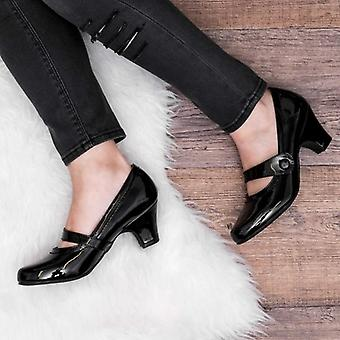 Spylovebuy ISADORE Mary Jane Block Heel Court Shoes - Black Patent