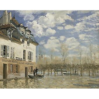 Alfred Sisley - Boot in der Flut an Port Marly Poster Print Giclee
