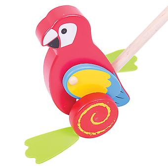 Bigjigs Toys Wooden Parrot Push Along - Walking Toys for Babies and Toddlers