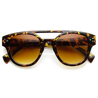 Retro Fashion Horned Rim Double Bridge Flat Top Aviator Sunglasses