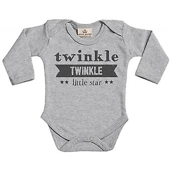 Spoilt Rotten Twinkle Twinkle Little Star Long Sleeve Organic Baby Grow