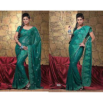 Bhagyashri Georgette Indiase Sari saree stof buikdansen
