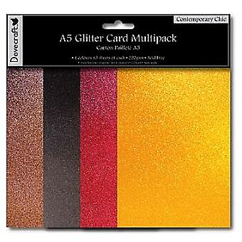 SALE - 12 Contemporary Chic A5 Glitter Card Sheets | Coloured Card for Crafts