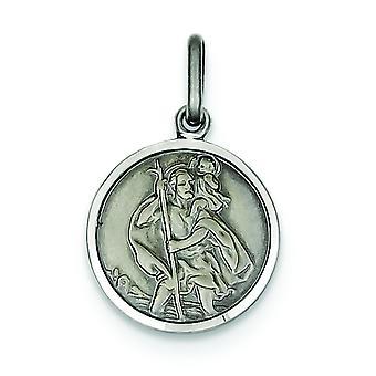 Sterlingsilber solide Satin polierten Schlossdrücker Antikfinish St. Christopher Medaille Charme